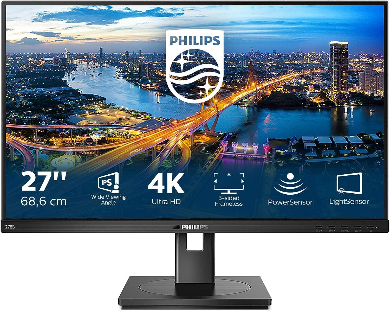 Philips 278b1 27 Zoll Uhd Monitor Höhenverstellbar 3840x2160 60 Hz Hdmi 2 0 Displayport Usb Hub