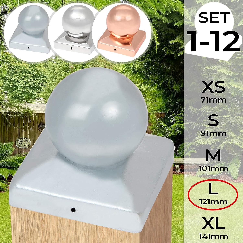Pfostenkappe mit Kugelkopf Pfostenabdeckung Kugelkappe Verschiedene Gr/ö/ßen in Setzt von 1 bis 12 Abdeckkappe f/ür Pfosten Materialwahl
