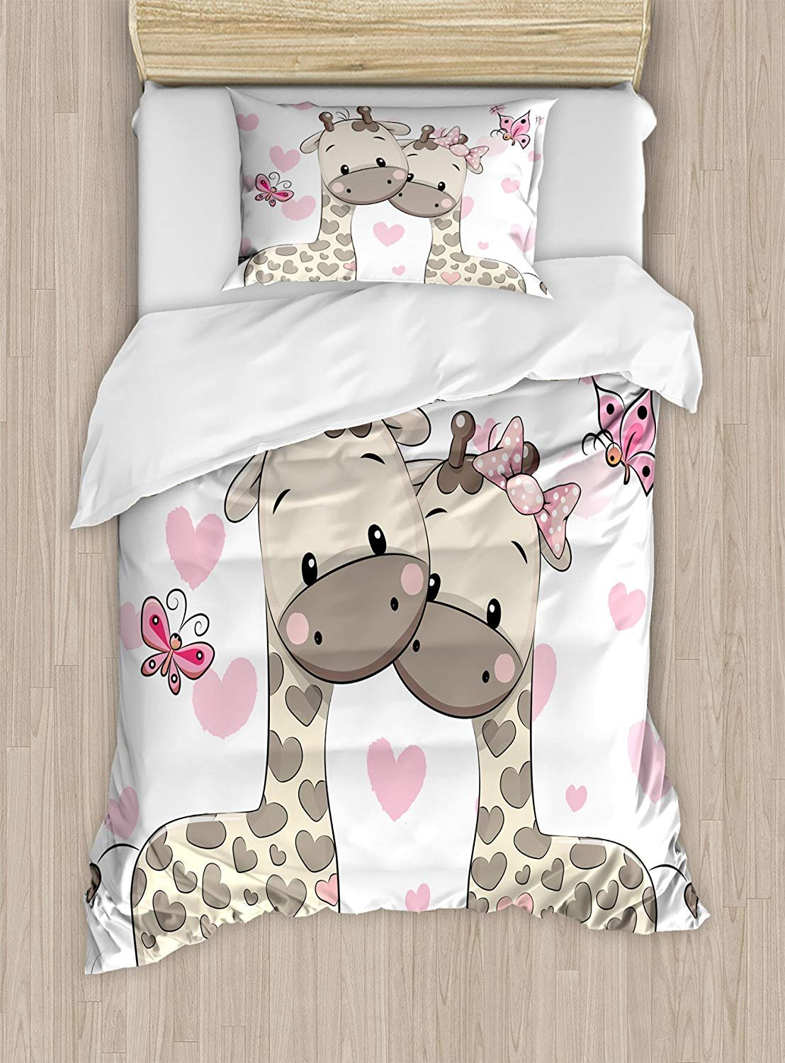 Twin XL Extra Long Bedding Set,Kids Decor Duvet Cover Set,Cute Giraffes in Pure Valentine's Love with Butterflies and Hearts Bows Art,Cosy House Collection 4 Piece Bedding Sets
