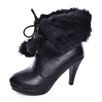 Women s High Heel Platform Lace Up Ankle Booties Outdoor Suede High-Reel  Waterproof Faux Fur 0e276a880065