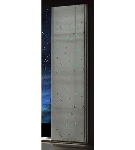 Gardinenbox Flachenvorhang Blickdicht Motiv Sterne Monde