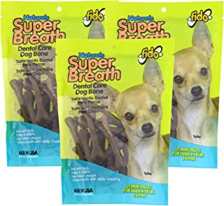product image for Fido Super Breath Dental Care Bones for Dogs, Made with Kelp, Parsley & Chlorophyll - Naturally Freshens Breath, Reduces Plaque and Whitens Teeth