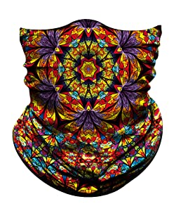 Obacle Seamless Bandana for Rave Face Mask Dust Wind UV Sun Protection Neck Gaiter Tube Mask Headwear Bandana for Women Men Festival Party Motorcycle Riding Fishing Outdoor (Flower Bloom Gold Purple)