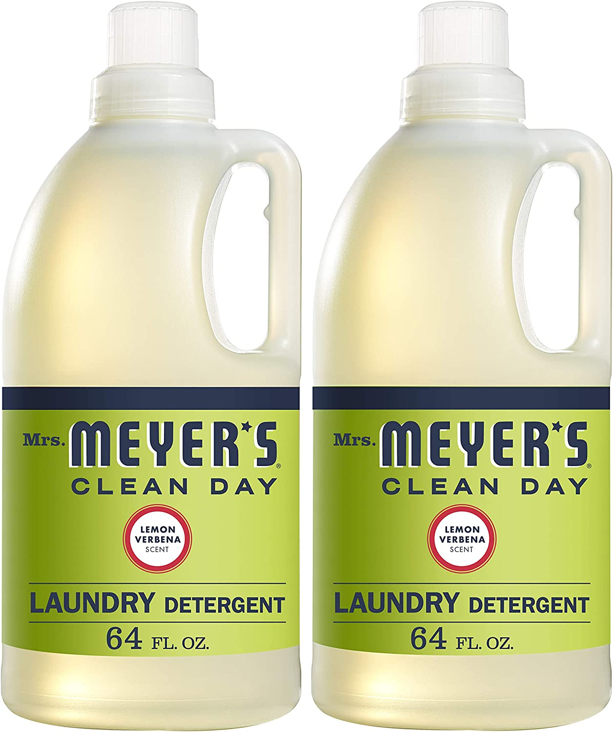 Mrs. Meyer's Clean Day Liquid Laundry Detergent, Cruelty Free and Biodegradable Formula, Lemon Verbena Scent, 64 oz- Pack of 2