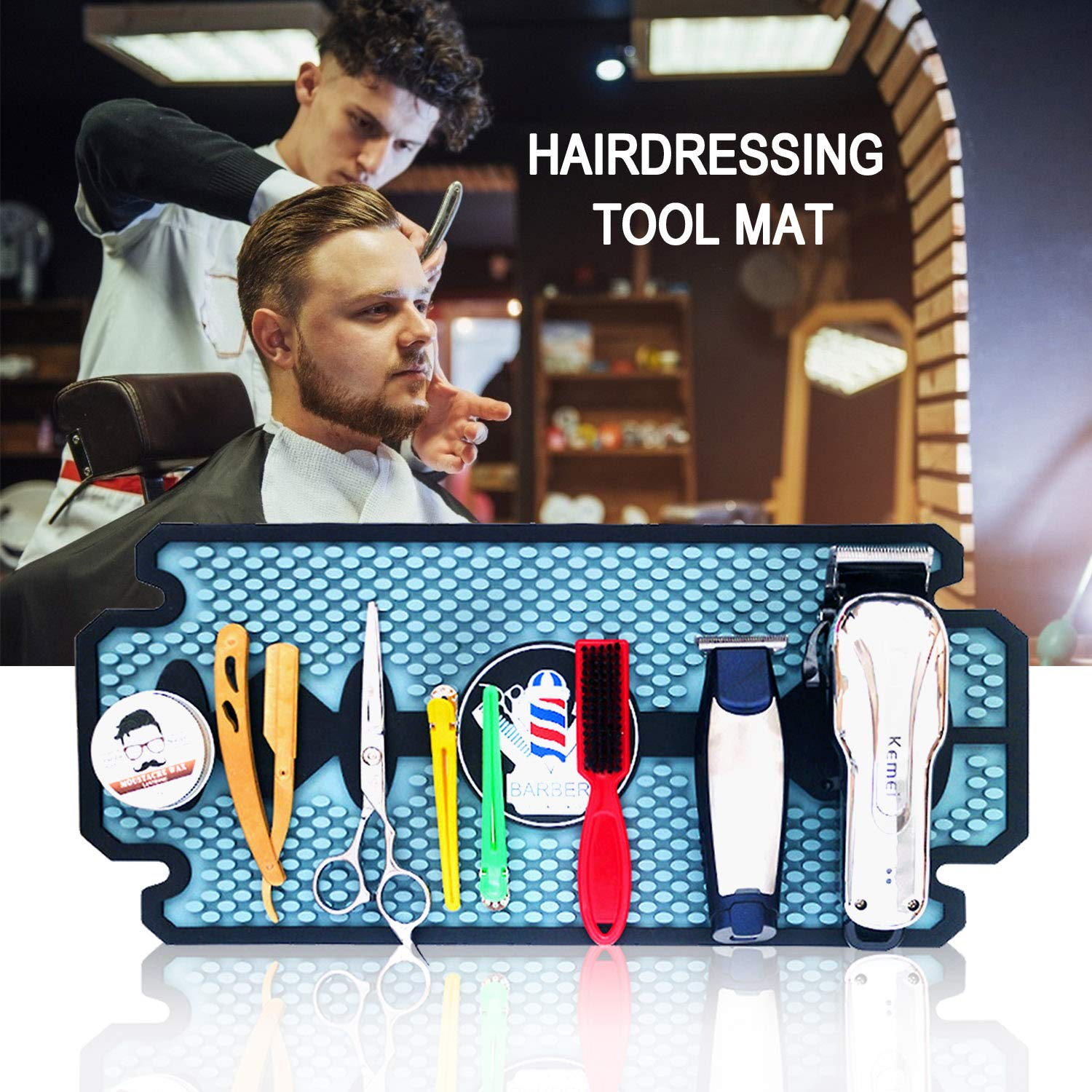 Noverlife Rubber Barber Station Mat, Heat Resistant Anti Slip Hair Salon Service Mat, Double Edge Countertop Protector Pad for Hair Styling Tools, Professional Flexible Mat for Clippers Salon Tools: Beauty