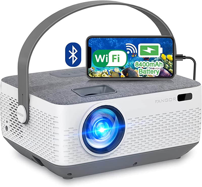 WiFi Projector Bluetooth 8400mAh Battery, Rechargeable Portable Home Projector, FANGOR 1080P Supported Movie Projector with Sync Smartphone Screen via WiFi/USB Cable, Compatible with iPhone, Laptop