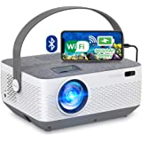 WiFi Projector Bluetooth 8400mAh Battery, Rechargeable Portable Home Projector, FANGOR 1080P Supported Movie Projector with S