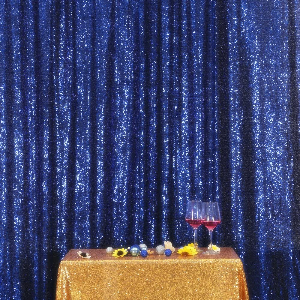 Navy Blue PartyDelight Sequin Backdrop Photography and Photo Booth, Wedding, Curtain, 8FTx8FT
