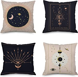 VenusL Set of 4,Mysterious Divination Pink Gold Black Eye of Wisdom,Sun & Moon Mandala Throw Pillow Covers,One-Side Printed,Cotton Linen,18x18 Inch(45x45cm)
