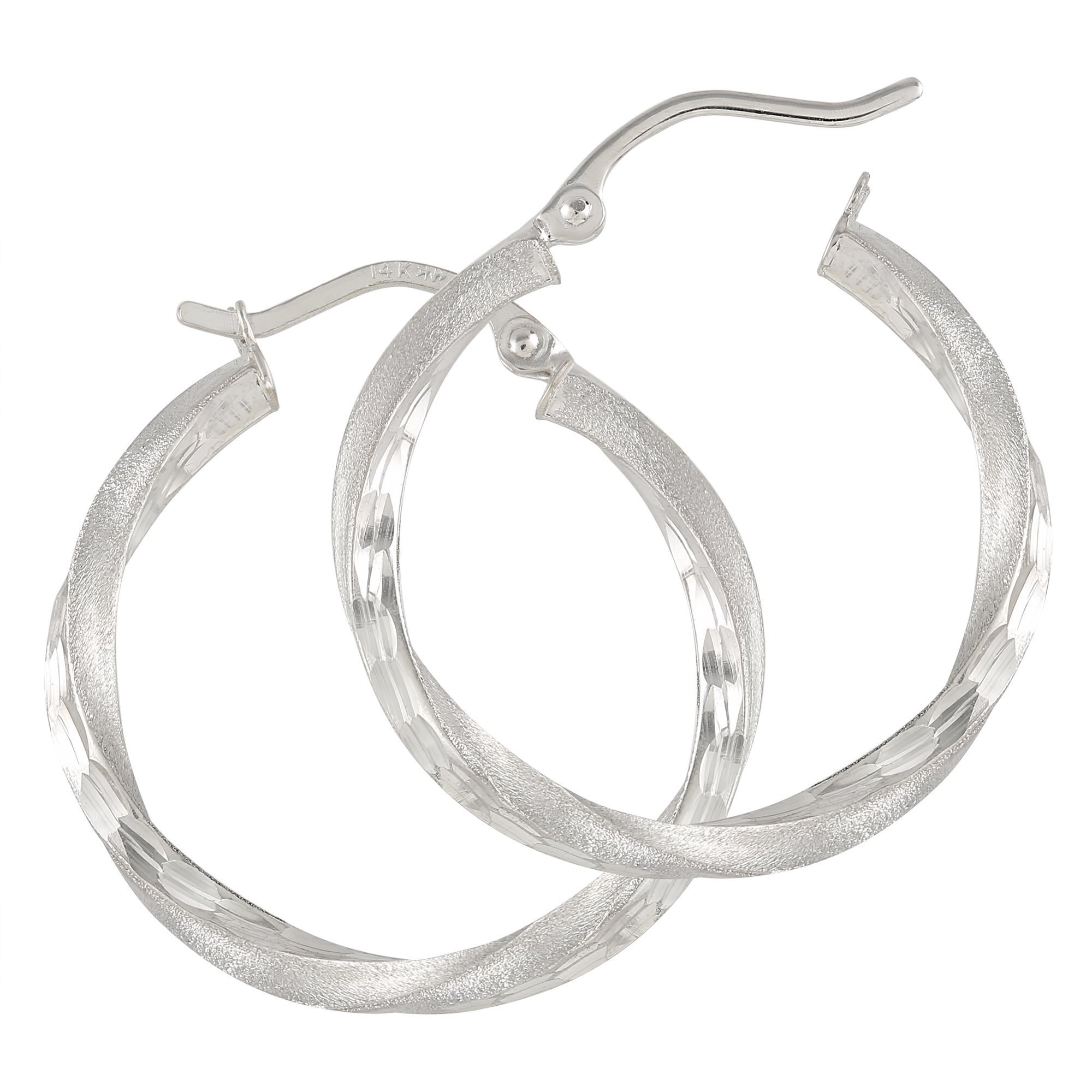 Balluccitoosi Satin Finish Hoop Earrings - 14k White Gold Earring for Women and Girls - Unique Jewelry for Everyday