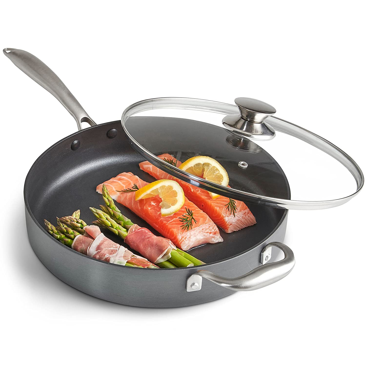 """VonShef 11"""" Premium Hard Anodized Aluminum Sauté Pan with Non Stick Interior Helper Handle and Tempered Glass Lid, Large, 11 Inches With Nonstick Interior, 3.1 Quart Capacity, Gray"""