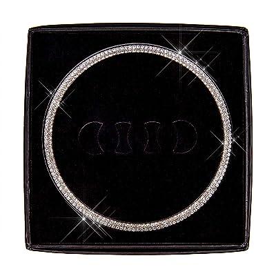 Charrost Bling Bling Car Steering Wheel Logo Badge Emblem Cover Diamond Decoration, Unique Gift for Women for Audi 02: Automotive