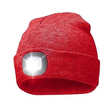 Gorro de punto unisex con 4 luces LED para camping, pesca, barbacoas, reparación de automóviles, atletismo, senderismo, rojo: Amazon.es: Deportes y aire ...