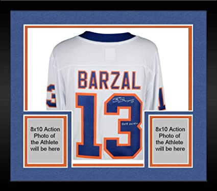 58893d66db0 Image Unavailable. Image not available for. Color: Framed Mathew Barzal New  York Islanders Autographed White Fanatics Breakaway Jersey with 2018 Calder  ...