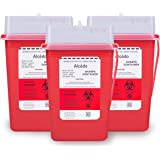 Sharps Container for Home Use and Professional 1 Quart (3-Pack) by Alcedo | Biohazard Needle and Syringe Disposal…
