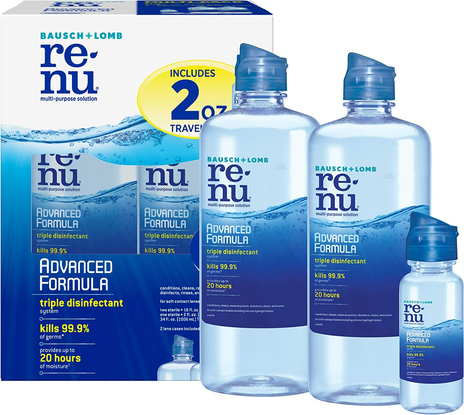 Renu Advanced Formula Multi-Purpose Solution, 16 Ounce, Multi-Pack