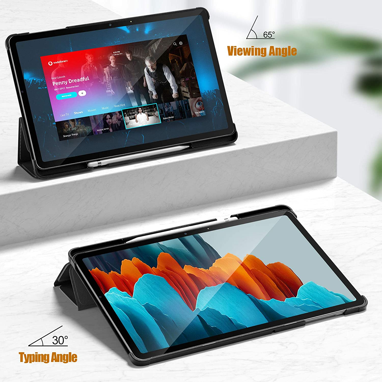 Verre Tremp/é Film pour Samsung Galaxy Tab S7 11 Cover Housse Etui Coque ELTD pour Samsung Galaxy Tab S7 Verre Tremp/é Film+ pour Samsung Galaxy Tab S7 Coque Etui SM-T870//875 Noir + 1 Pack ,