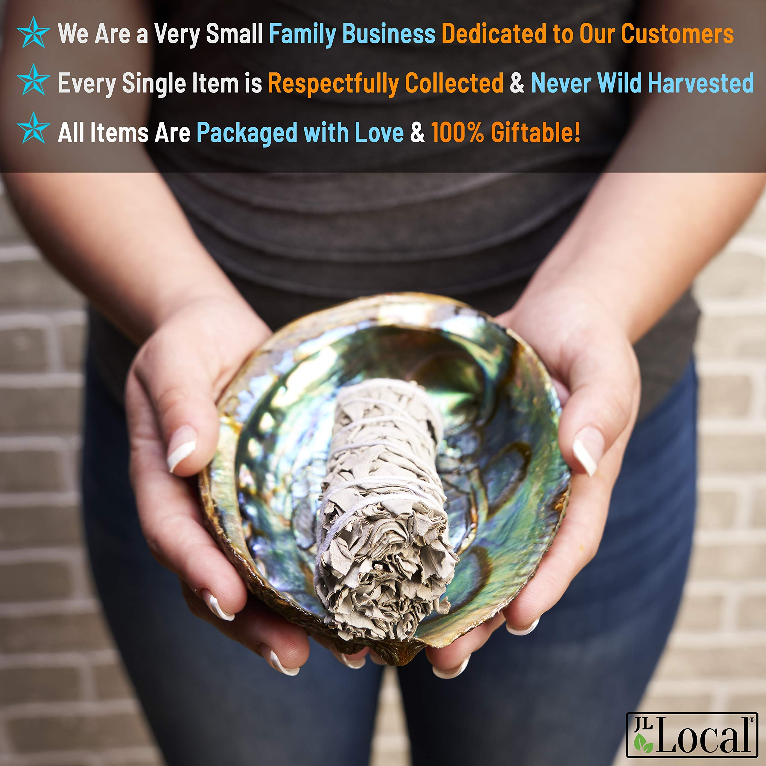 JL Local Chakra Smudging Kit - 10 Items Including White Sage Smudge Sticks, Palo Santo, Amethyst, Rose Quartz, Abalone Shell, Stand & Gift by JL Local (Image #6)