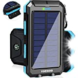 Solar Charger 20000mAh YOESOID Portable Outdoor Waterproof Solar Power Bank Camping External Battery Packs with Dual USB Output 2 Led Light Flashlight Compatible Most Smart Phones and Tablets