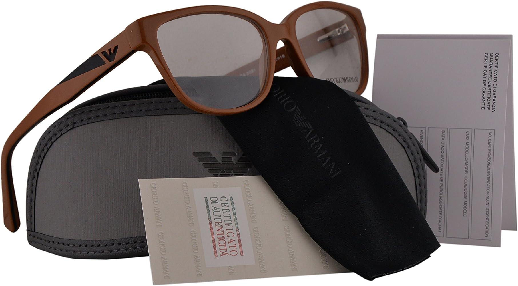 Emporio Armani EA3081 Gafas 52-16-140 Marrón Brillante con Lentes de Muestra 5511 EA 3081: Amazon.es: Ropa y accesorios