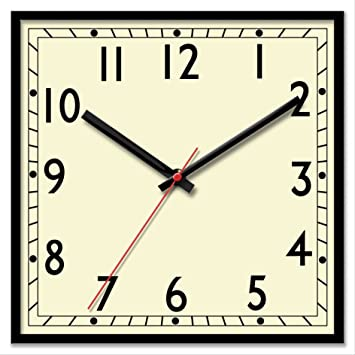 Classic retro large square bold quartz wall clock amazon co uk kitchen home