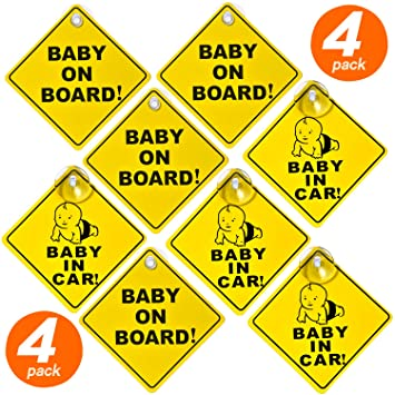 BABY ON BOARD CHILD SAFETY WITH SUCTION CUPS CAR VEHICLE SIGNS CHILD ON BOARD