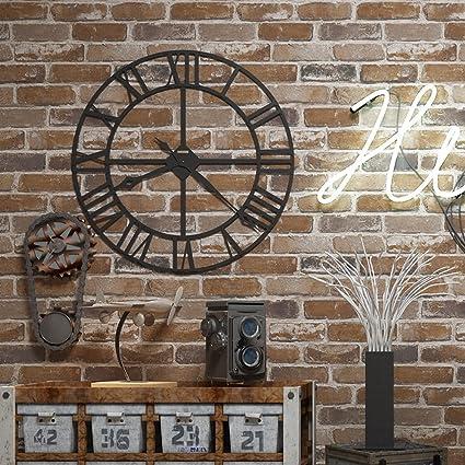 Okydoky 3d Vintage Textured Brown Brick Wallpaper Livingroom