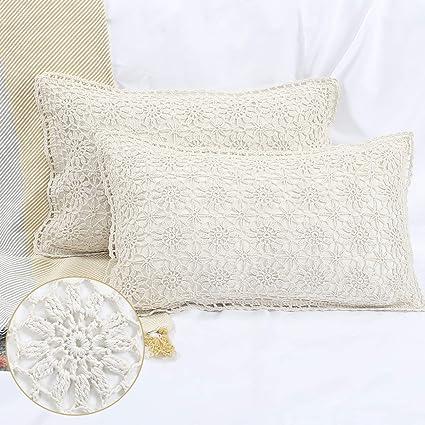 Kathemoi Throw Pillow Cover 2 Sets Macrame Outdoor Lumbar Boho Decorative Pillow Case for Couch Sofa Cotton Linen Sequin Rrectangle Tassel Soft Pillow Sham
