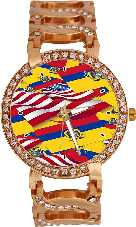 Reloj analógico de Cuarzo para Mujer con la Bandera de Ecuador y la Bandera de Estados Unidos con Reloj de Pulsera de Oro Rosa: Amazon.es: Relojes