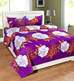 Homefab India 3D 140 TC Polycotton Double Bedsheet with 2 Pillow Covers - Floral, Purple