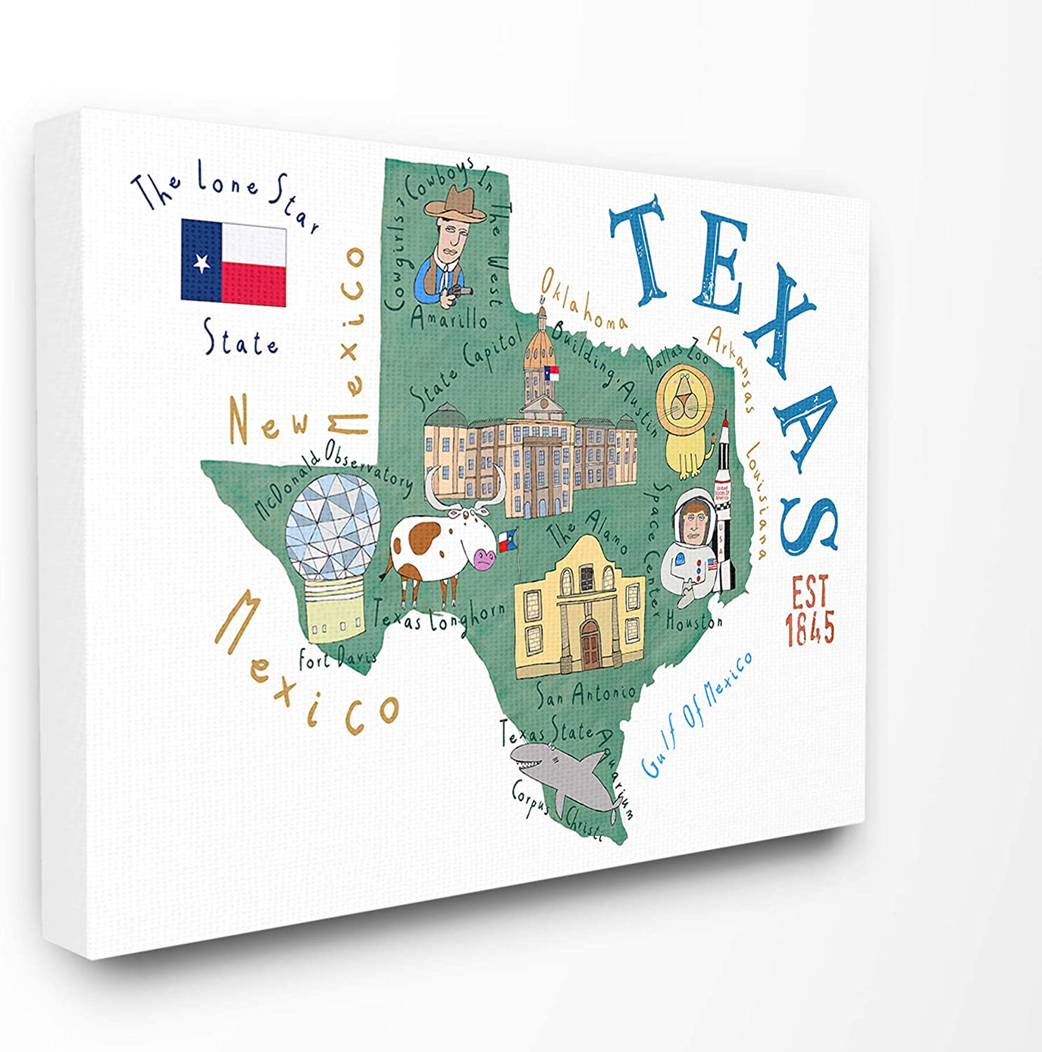 Stupell Industries Texas Landmarks and Flag Illustrated Map Canvas Wall Art, 16 x 20, Multi-Color