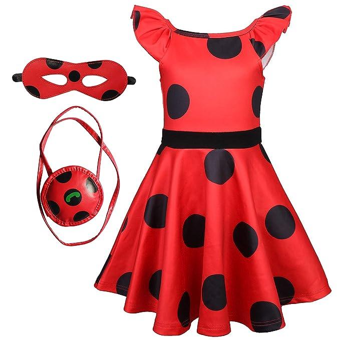 DJSJ- Ladybug Lady Bug Disfraz Niña Cumpleaños Mariquita Infantil ...
