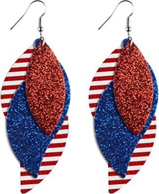 White and Blue Fourth of July Faux Leather Earrings Patriotic  Red