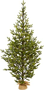 "6ft. Fraser Fir ""Natural Look"" Artificial Christmas Tree with 250 Clear LED Lights, with a Burlap Base"