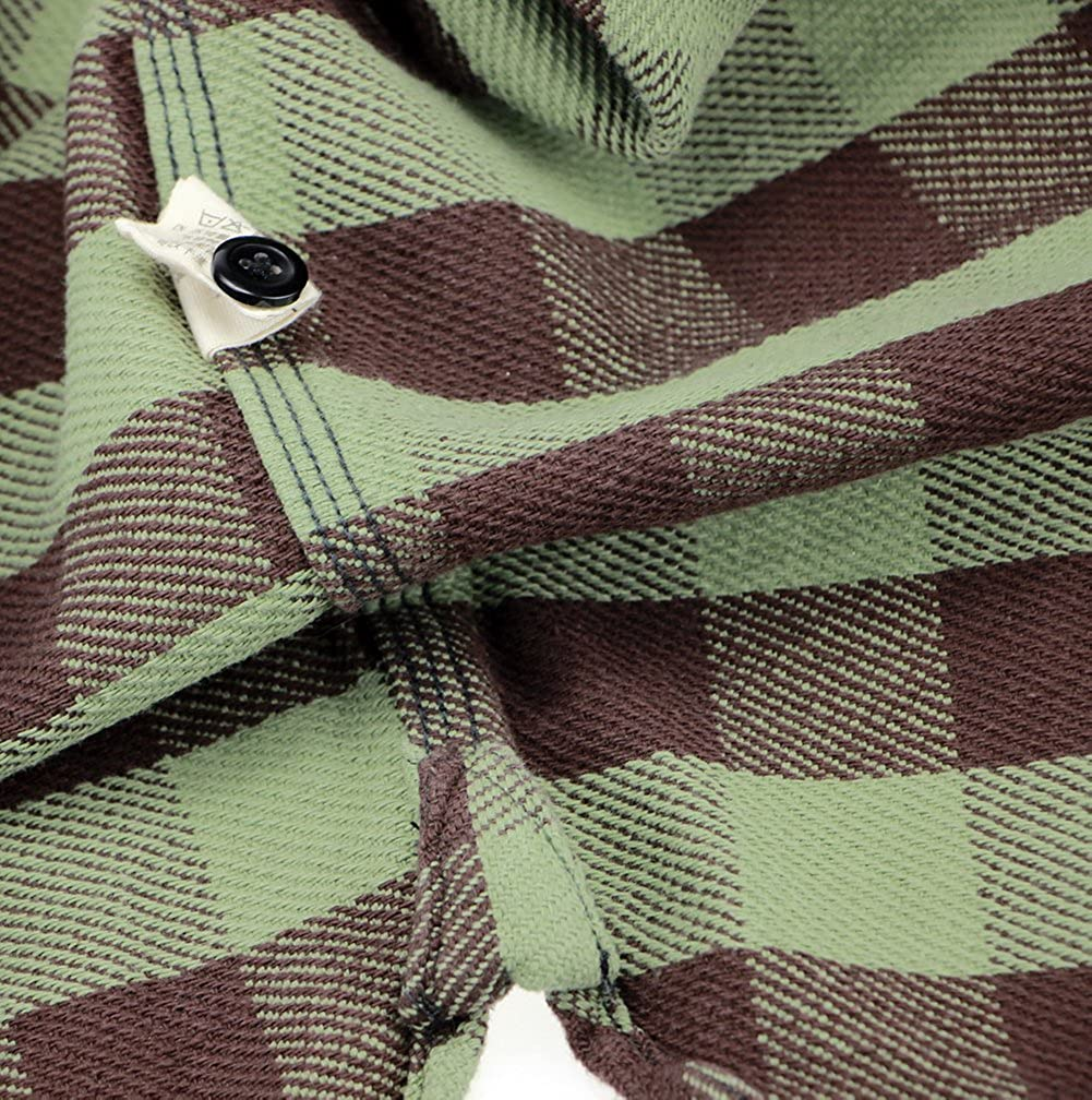 Bii Free Mens Green Long-Sleeved Plaid Thick Autumn Winter Retro Style Casual Shirt