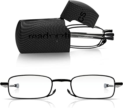 1.5 Read Optics 2 Pack Telescopic Reading Glasses in Gunmetal 2.5 +1 Unisex 3.5 Diopter Lens 2 3 Portable Emergency Folding Specs in Strong Micro Travel Case with Magnet-ic Flip Top