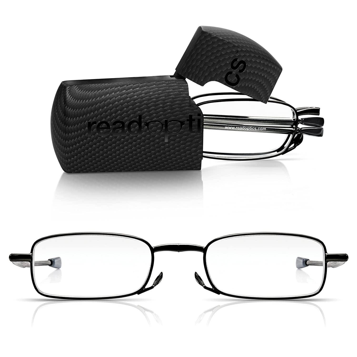 Read Optics Folding Glasses: Mens/Womens Durable Fold-Away Compact Ready Readers With Pocket Hard Case, Foldable Metal Frame, Slim Telescopic Arms, Optical Quality Lenses +1/1.50/2/ 2.5/3/ 3.5
