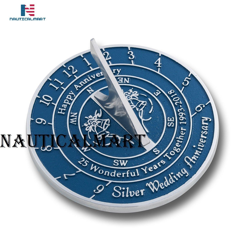 NauticalMart Silver Wedding & Anniversary Sundial Gift