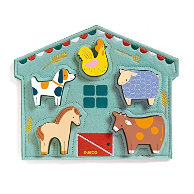 DJECO Mowy Wood and Felt Puzzle: Toys & Games