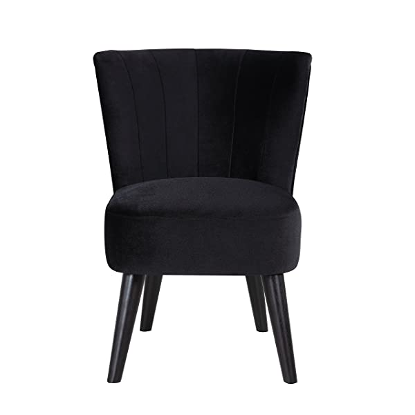 Divano Roma Furniture Classic and Traditional Living Room Velvet Fabric Accent Chair (Black)