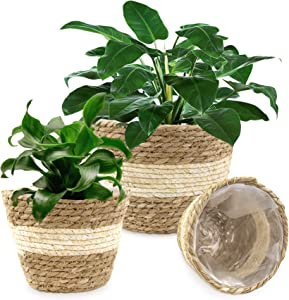 Seagrass Planter Basket Woven Plant Pot Indoor Outdoor - Flower Pots Cover Storage Basket Plant Containers for Home Decor (3-Pack)
