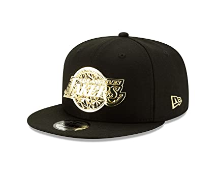 f7ae07a1 New Era Los Angeles Lakers Fractured Metal Fitted 59Fifty NBA Hat - Black/Gold  (