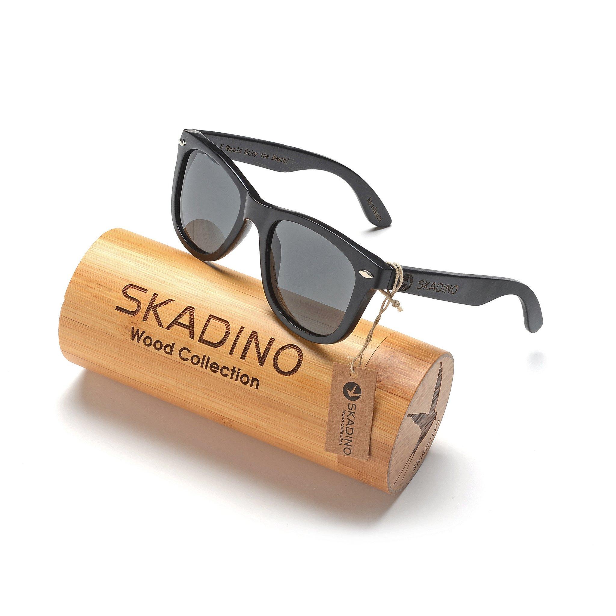 SKADINO Wayfarer Bamboo Sunglasses with Polarized lenses-Handmade Floating Wood Shades for Men&Women-Polished Black