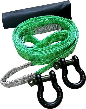 Desert Fox Winch Berge Set con correa de montaña 3 m/14 ty 2 grilletes de 3/4 pulgadas curvados como cuerda de remolque para rescate forstset incluye ...