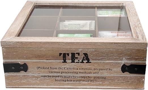 ToCi – Caja de té grandes, 24 x 24 x 8,5 cm (l x an x al), con 9 ...