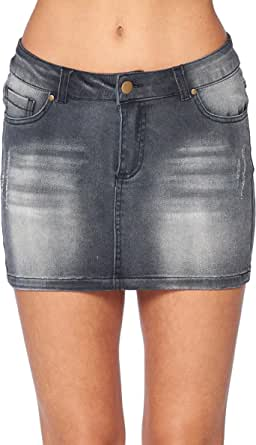 Hollywood Star Fashion Falda Mini Bolsillo Dril Manera Jean Mujeres