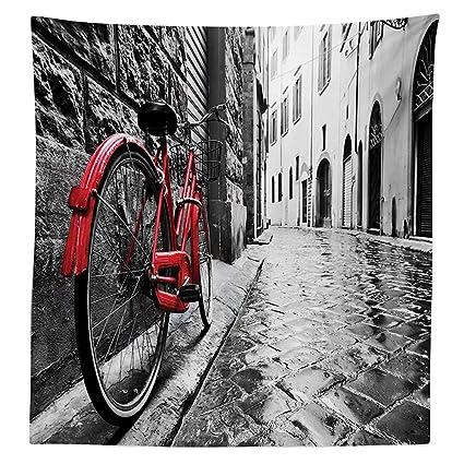 vipsung Bicicleta decoración Mantel Classic Bicicleta en la Calle de adoquín en Italiano Ciudad Ocio Encanto