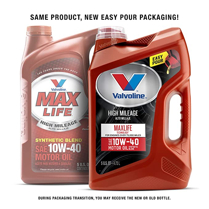 Amazon.com: Valvoline High Mileage with MaxLife Technology 10W-40 Synthetic Blend Motor Oil - 5qt (Case of 3) (782482-3PK): Automotive