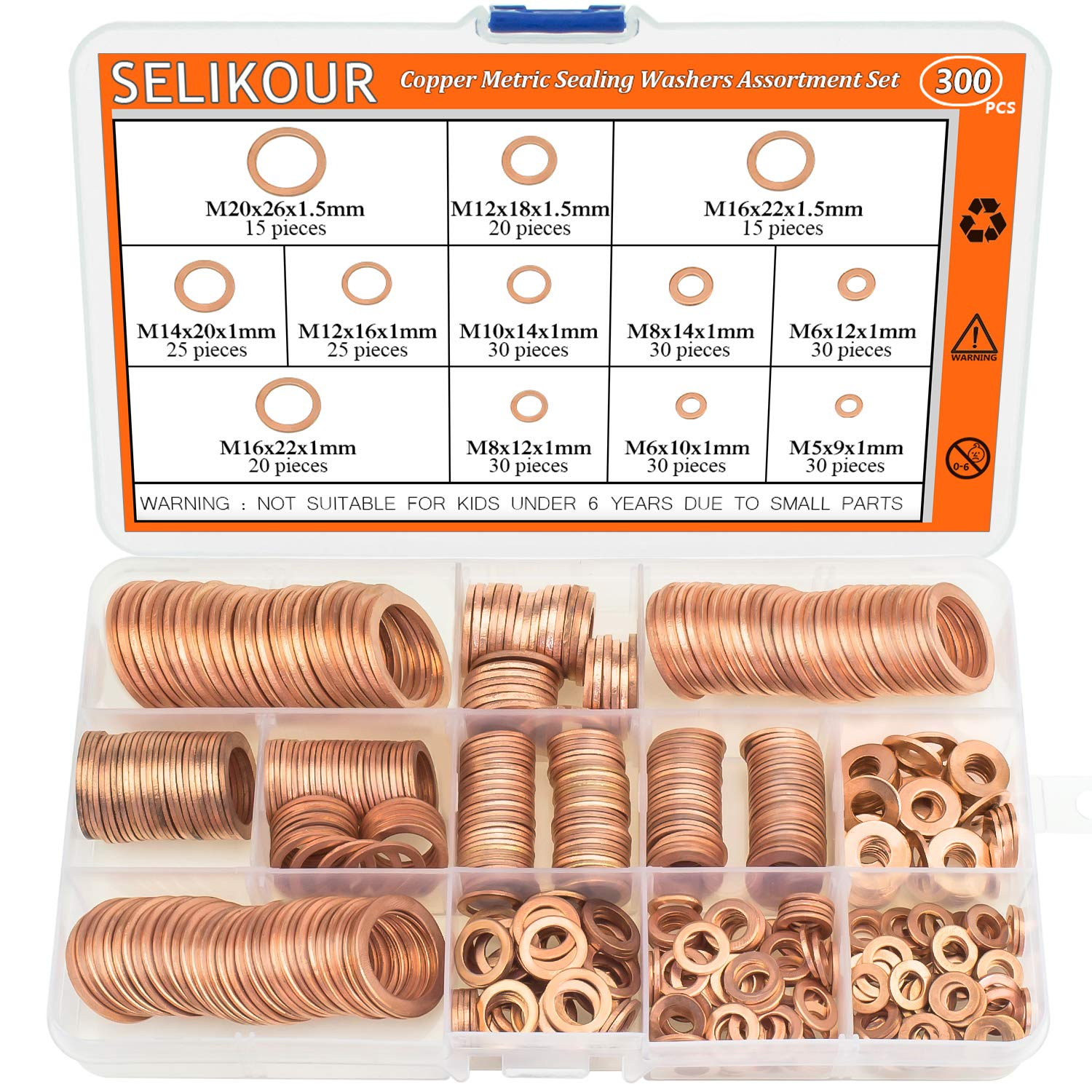 Copper Washer Assortment Set, HELIFOUNER 300Pcs 12Sizes Copper Metric Sealing Washers Kit