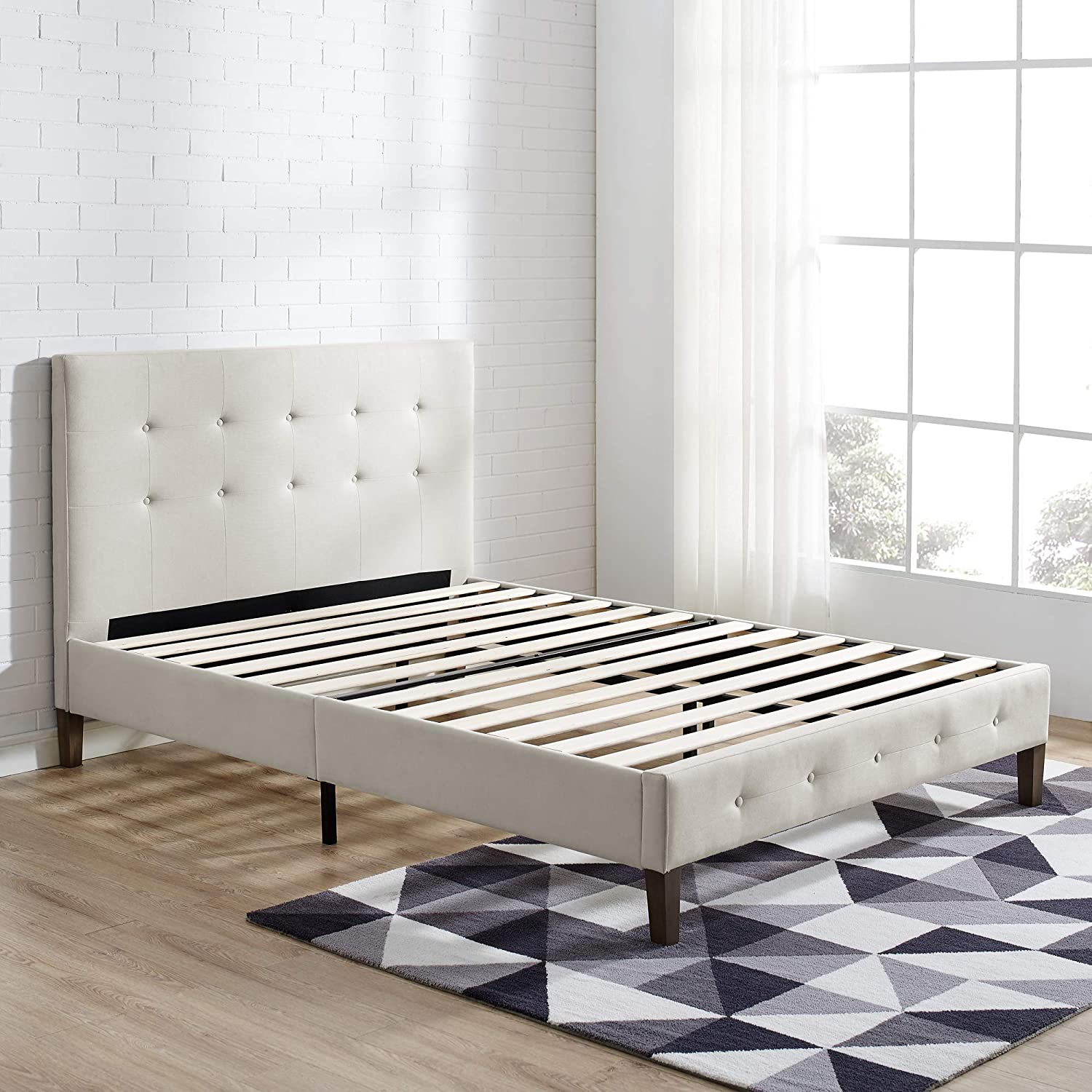 Classic Brands DeCoro Seattle Modern Tufted Upholstered Platform Bed Headboard and Wood Frame with Wood Slat Support, Queen, Peyton Shell